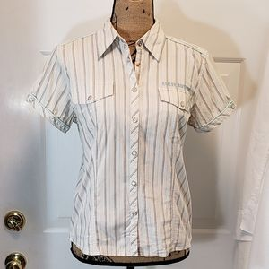 Harley-Davidson Striped Pearl snap button down top
